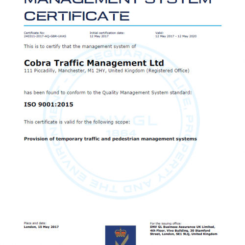 An iso 9001 cetrificate