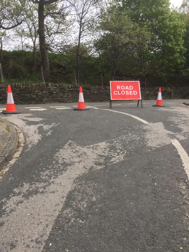 Cobra Traffic Management close a road to keep competitors safe as part of the traffic / event management for the Tour De Yorkshire