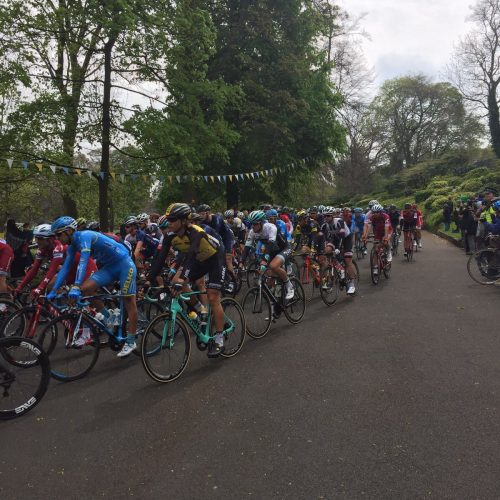 Competitors taking part in the Tour De Yorkshire