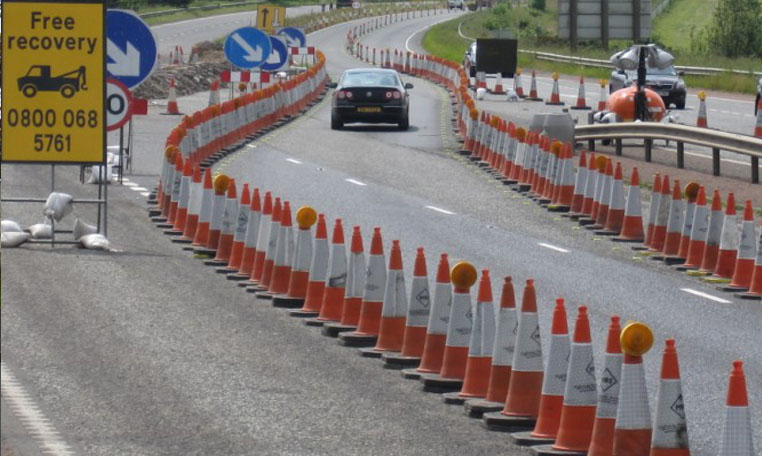 The flow of traffic is diverted as part of a high speed traffic management scheme